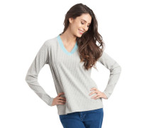 Pullover Kontrast-Ausschnitt Struktur-Muster