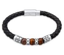 Armband Leder Bead Magnet-Verschluß 5er Silber  cm