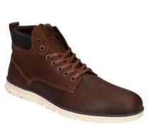 Boots Leder Kontrast-Details Marken-Prägung