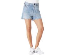 Shorts Relaxed Fit Destroyed-Look Fransen Palmen-Print