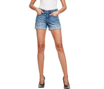 Jeansshorts, Used, Waschung,