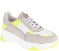 Sneaker, hoch, Schnürung, Rauleder-Einsätze, Neon-Farbeeder, aufwändig,