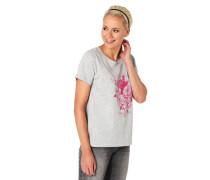 T-Shirt Blumen-Print Schriftzug