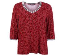 Shirt 3/4-Arm Jersey Leo-Print V-Ausschnitt Große Größen