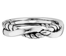 Ring 5/- Sterling Silber rhodiniert Seilstruktur