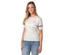 T-Shirt meliert Streifen-Details Raffung Logo-Patch