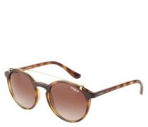 """Sonnenbrille """"VO -S"""" Havana-Optik runde Gläser Gold-Details"""