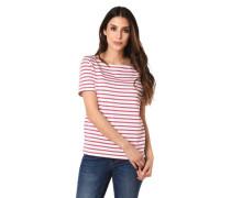 T-Shirt Streifen U-Boot-Ausschnitt