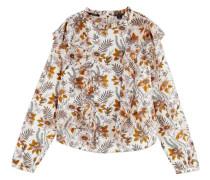 Bluse, langarm, Blumen-Muster, Rüschen,