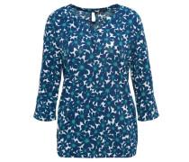 Shirt florales Muster Volant-Ärmel Gummibund Split-Neck