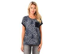 Blusenshirt Leoparden-Muster Brusttasche angeschnittene Ärmel