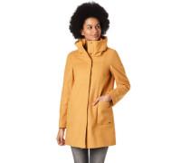 Mantel, doppelter Kragen, Woll-Anteil, für Damen, curry