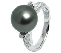 Ring 585 Weißgold mit 38 Diamanten, zus. ca. 0.24 ct. und Tahiti-Zuchtperle 10,0 mm