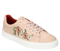 Sneaker, Blumen-Stickerei, gepolstert, profilierte Sohle