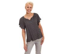 Blusenshirt gepunktet Flatter#rmel Mini-V-Ausschnitt