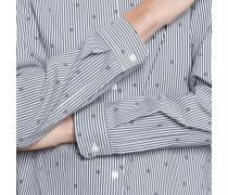Hemdbluse Langarm Streifen Dunkelblau -blau