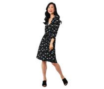 Kleid florales Muster V-Ausschnitt Bindegürtel