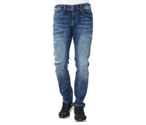 "Jeans ""Hatch"", Slim Fitow Waist, Waschung, Used Look"
