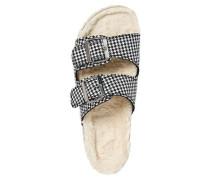Hausschuhe flauschiges Innenfutter vorgeformtes Fußbett Hahnentritt-Muster