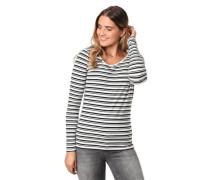 Langarmshirt, Streifen, Baumwoll-Stretch, /weiß, L
