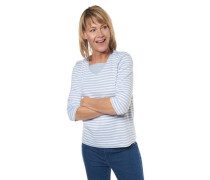 Shirt 3/4-Arm gestreift Strass-Besatz Baumwolle