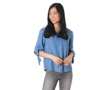Blusenshirt, 3/4-Arm, Denim-Look, Knoten-Details