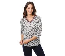 Shirt 3/4-Arm Animal-Print Brusttasche V-Ausschnitt