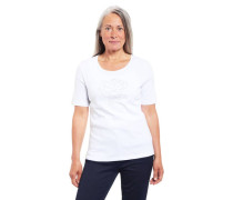 T-Shirt Bio-Baumwolle Strass-Besatz Blumen-Motiv