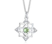 Halskette Geburtsstein Lotus Swarovski® Kristalle 5 Silber
