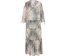 Midi-Kleid, Split-Neck, 3/4-Arm, Batik, Stufenrock,