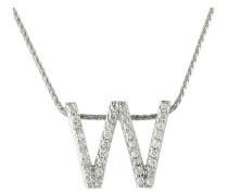 """Kette mit Anhänger """"W"""", 375 Weißgold mit Diamanten, zus. ca. 0,18 ct"""