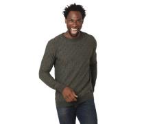 Pullover Struktur-Muster Rundhalsausschnitt meliert