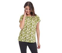T-Shirt Baumwoll-Anteil Allover-Print Raffung am Ärmel