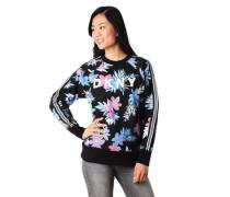 Sweatshirt Blumen-Print Marken-Print Galon-Streifen