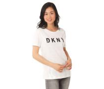 T-Shirt Pailletten-Front Marken-Schriftzug