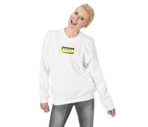 Sweatshirt Rippbündchen Metallic-Patch Logo-Print Nieten