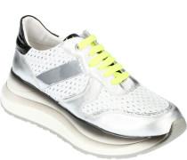 Sneaker, Plateausohle, hoch, Kontrast-Einsätze, Netz-Optik, Silberton, neonfarbene Schnürung,