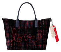 Shopper, Schriftzug, Tweed Stoff