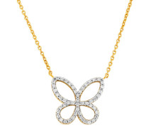 Collier 3er Gelb mit  Diamanten zus. ca. 025 ct