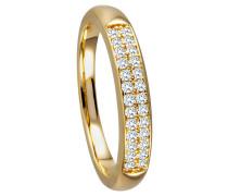 Ring 375 Gelbgold mit 26 Diamanten, zus. ca. 0,25 ct.