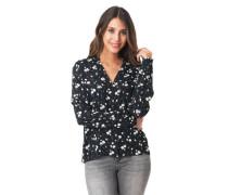 Hemdbluse, Knopfleiste, V-Ausschnitt, florales Muster
