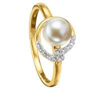 Ring 5/- gold mit Perle weiß
