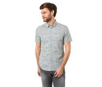Freizeithemd Kurzarm Allover-Print Under-Button-Down-Kragen