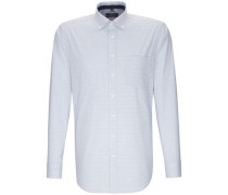 Business Hemd Modern Langarm Button-Down-Kragen Karo Hell