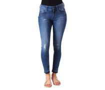 "Jeans ""Lynn"", 7/8-Länge, Skinny Fit, Used-Look, offener Saum,"