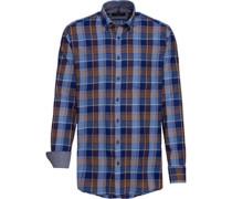 Karo-Freizeithemd, 1/1 Arm, Button-Down, Comfort Fit, royalblau