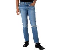 Jeans Slim Fit Destroyed-Effekt Knopfleiste