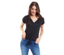 T-Shirt V-Ausschnitt Knoten uni