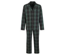 Schlafanzug, Reverskragen, reine Baumwolle, kariert