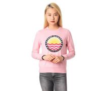 Sweatshirt Front-Print Ripp-Bündchen Baumwolle